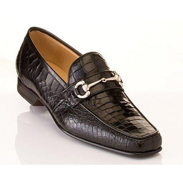 Caporicci 9872 Genuine Alligator Bit Loafers Black Image