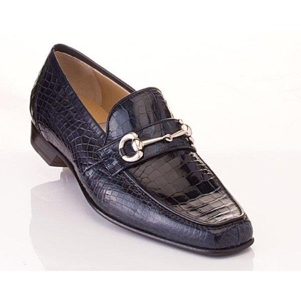 Caporicci 9872 Genuine Alligator Bit Loafers Navy Image