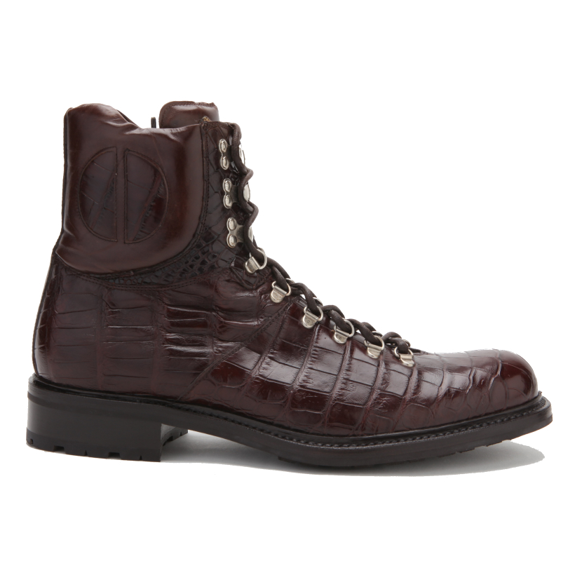 Caporicci Genuine Alligator Lace Up Boots Brown Image