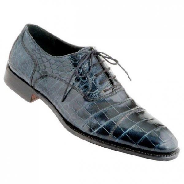 Caporicci 1114 Alligator Cap Toe Shoes Blue Image