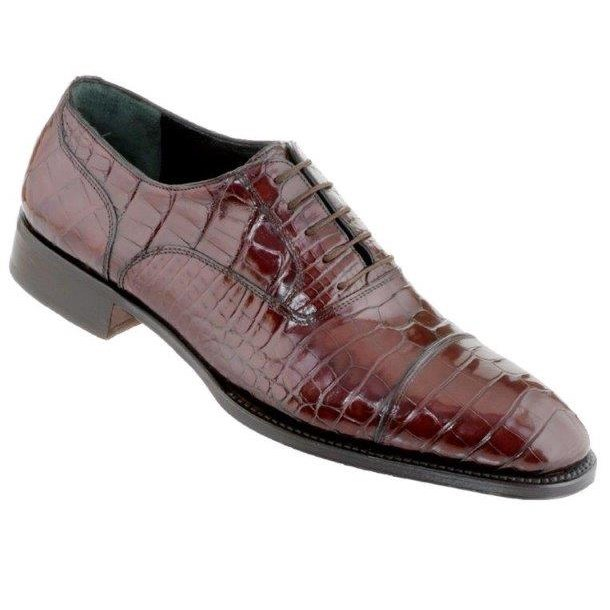 Caporicci Genuine Alligator Cap Toe Shoes Cognac Image