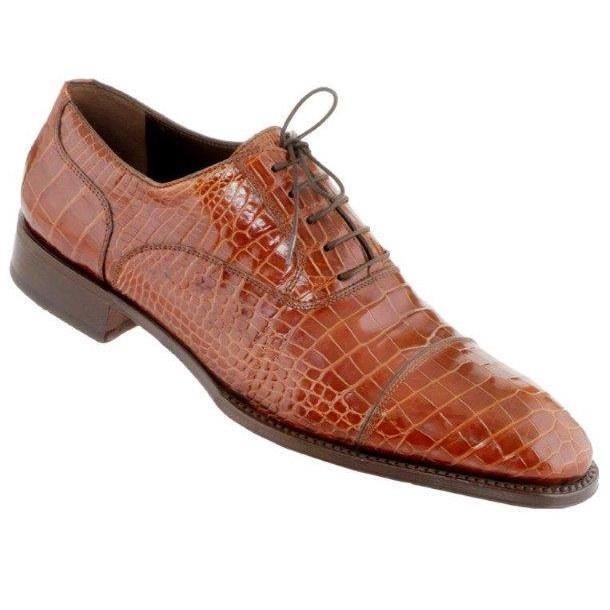 Caporicci 1102 Genuine Alligator Cap Toe Shoes Gold Image