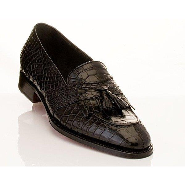 Caporicci 1415 Genuine Alligator Fringe Loafers Black Image