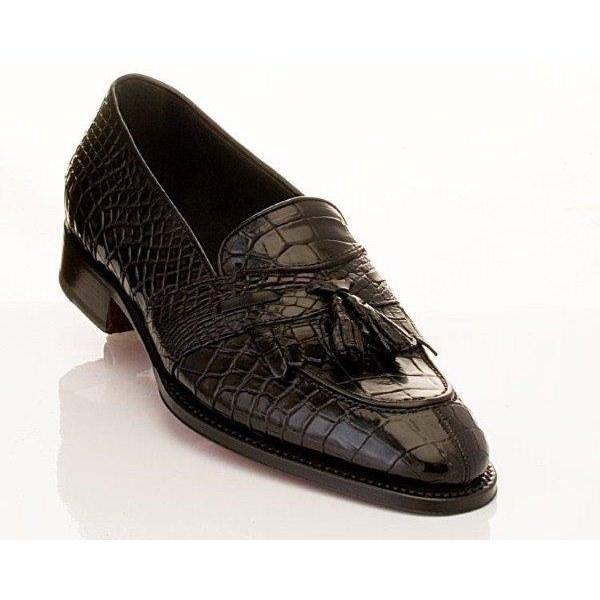 Caporicci 1415 Genuine Alligator Fringe Loafers Black Image