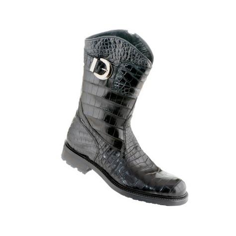 Caporicci Alligator Motorcycle Boot Black Image