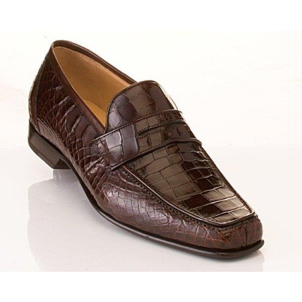 Caporicci 9961 Genuine Alligator Penny Loafers Dark Brown Image