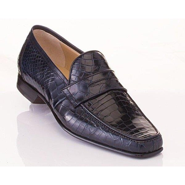 Caporicci 9961 Genuine Alligator Penny Loafers Navy Image