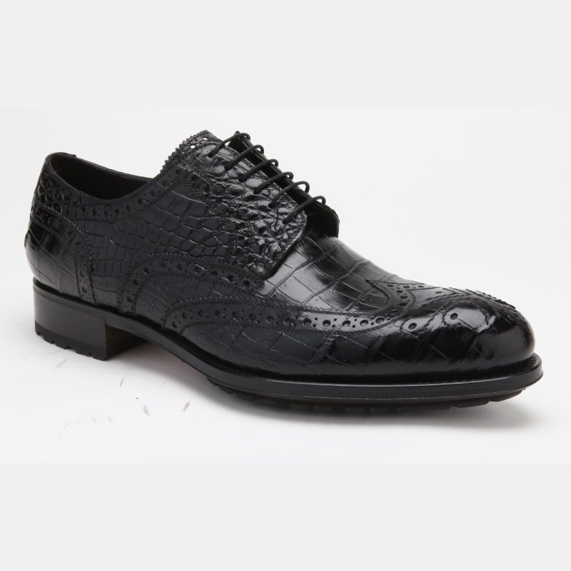 Caporicci 3318 Alligator Wingtip Shoes Black Image