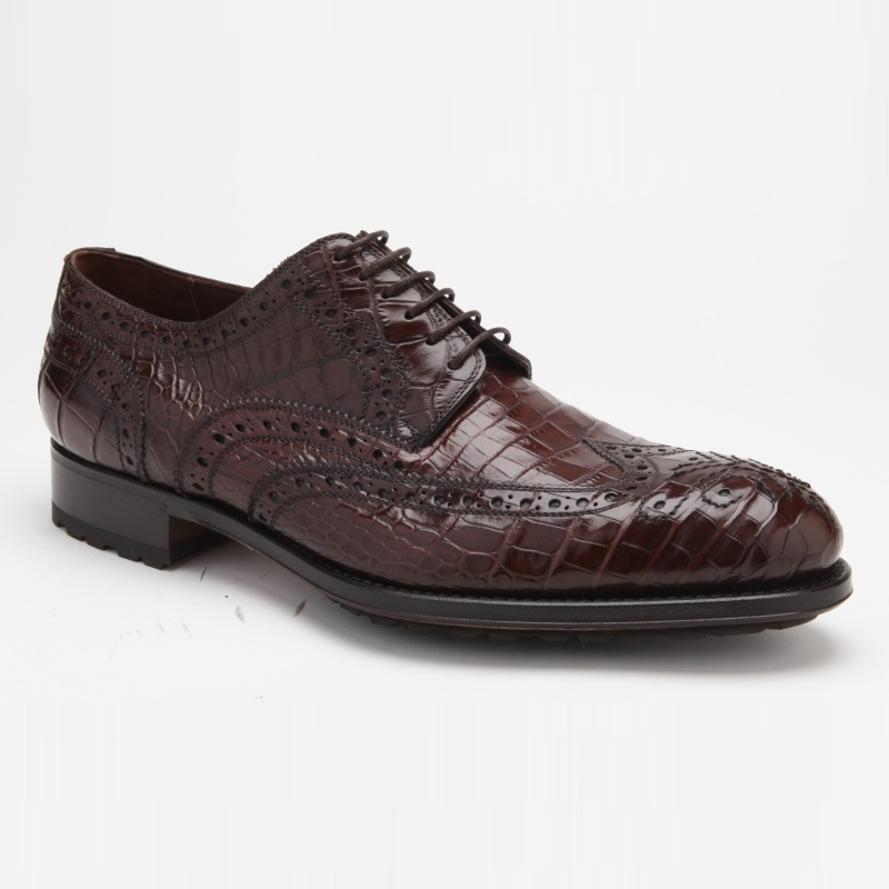 Caporicci 3318 Alligator Wingtip Shoes Castagno Image