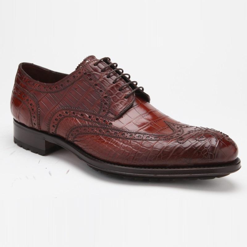 Caporicci 3318 Alligator Wingtip Shoes Sport Rust Image