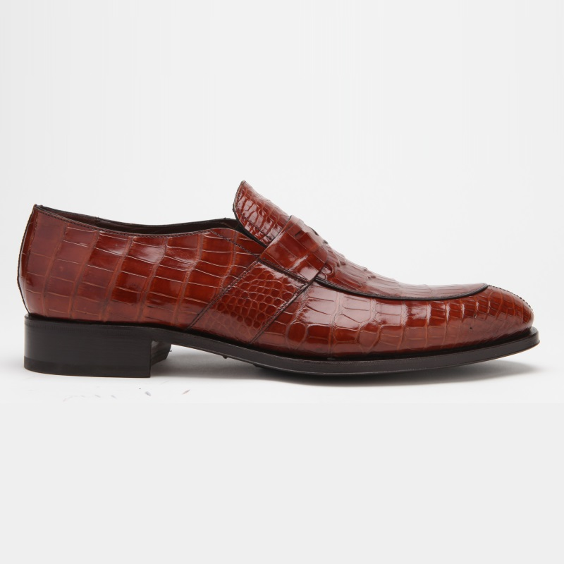Caporicci 3321 Alligator Penny Loafers Shoes Gold Image