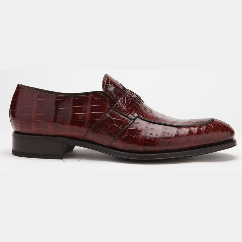Caporicci 3321 Alligator Penny Loafers Shoes Sport Rust Image