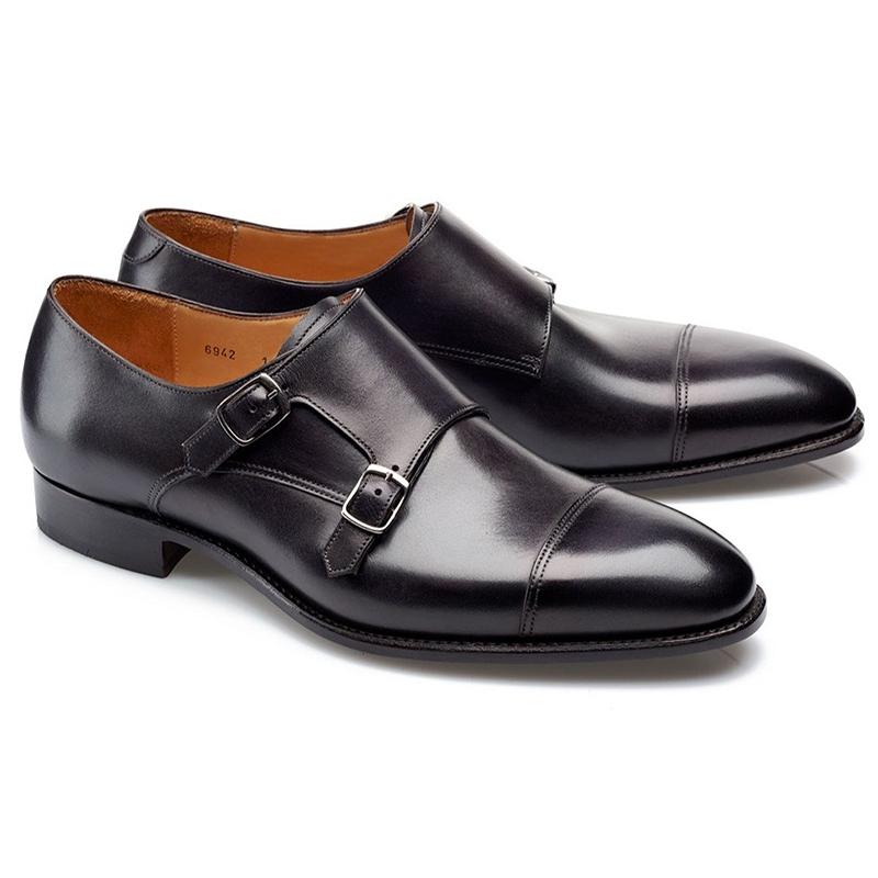 Carlos Santos Andrew 6942 Double Monk Strap Shoes Noir Shadow Image