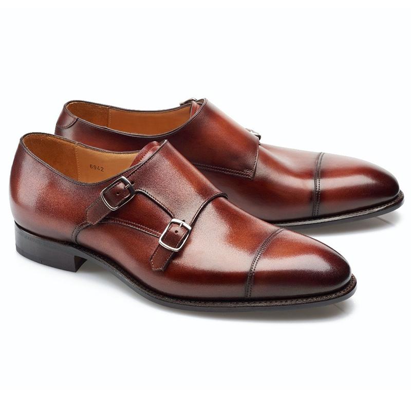 Carlos Santos Andrew 6942 Double Monk Strap Shoes Wine Shadow Image