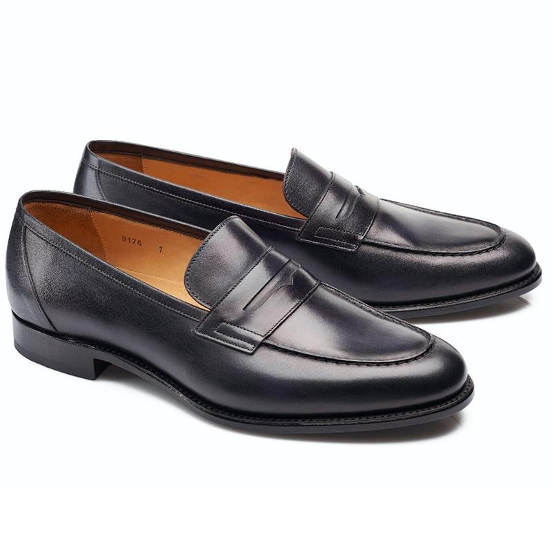 Carlos Santos Elliot 9176 Penny Loafer Shoes Noir Shadow Image