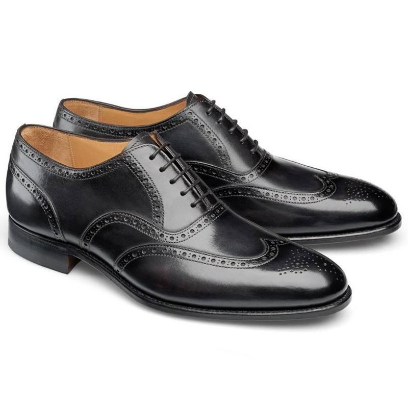 Carlos Santos Frank 7273 Wingtip Shoes Noir Shadow Image