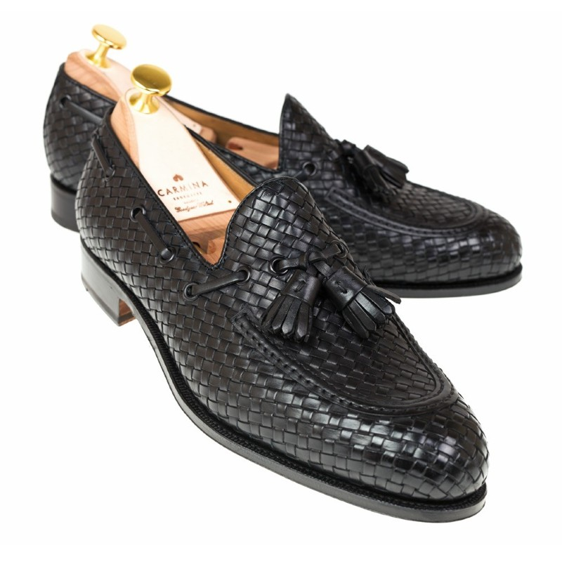 Carmina Braided Tassel Loafers 80299 Forest Black Image