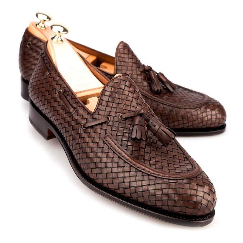 Carmina Braided Tassel Loafers 80299 Forest Brown Image