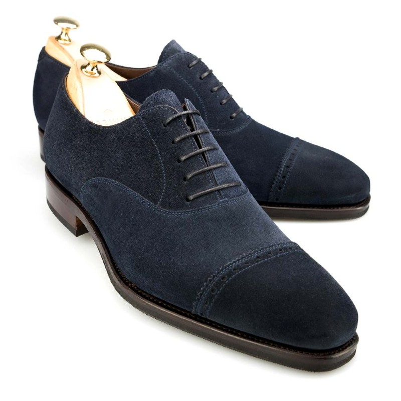 Carmina Cap Toe Oxfords 80201 Rain Navy Suede Image