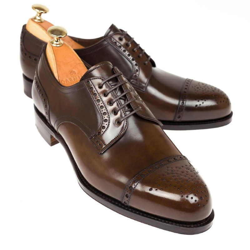 Carmina Shell Cordovan Blucher Shoes 80531 Forest Armagnac Image
