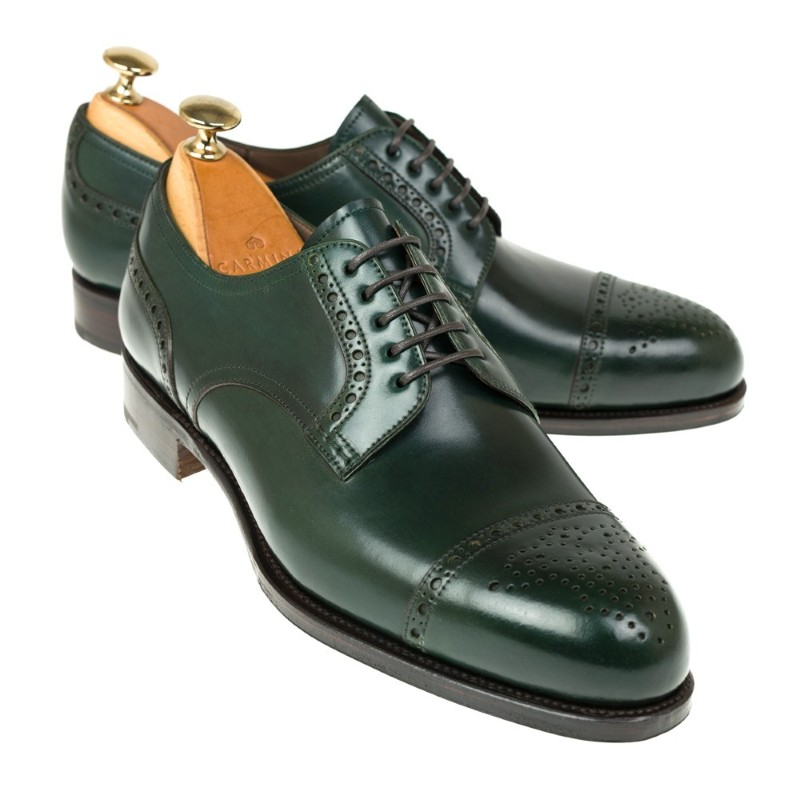 Carmina Shell Cordovan Blucher Shoes 80531 Forest Green Image