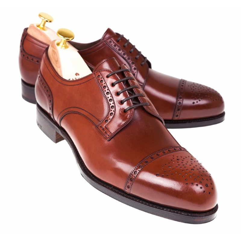 Carmina Shell Cordovan Blucher Shoes 80531 Forest Rubi Image