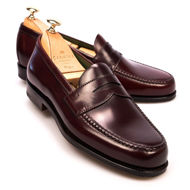 f94a4158ce9 Carmina Shell Cordovan Penny Loafers 80440 Pina Burgundy Image