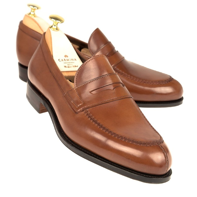 Carmina Shell Cordovan Penny Loafers 923 Forest Bourbon Image