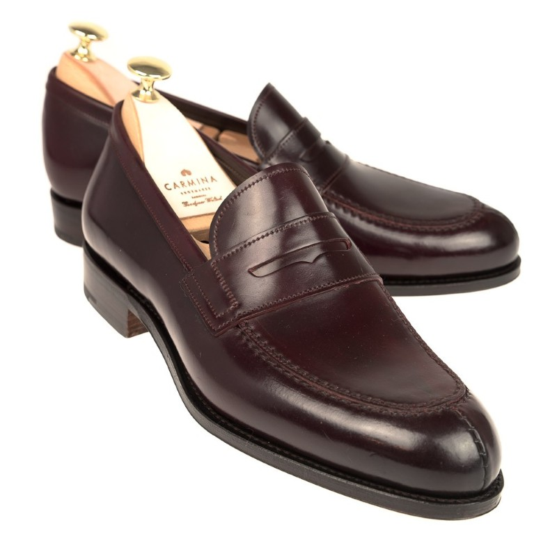 Carmina Shell Cordovan Penny Loafers 923 Forest Burgundy Image