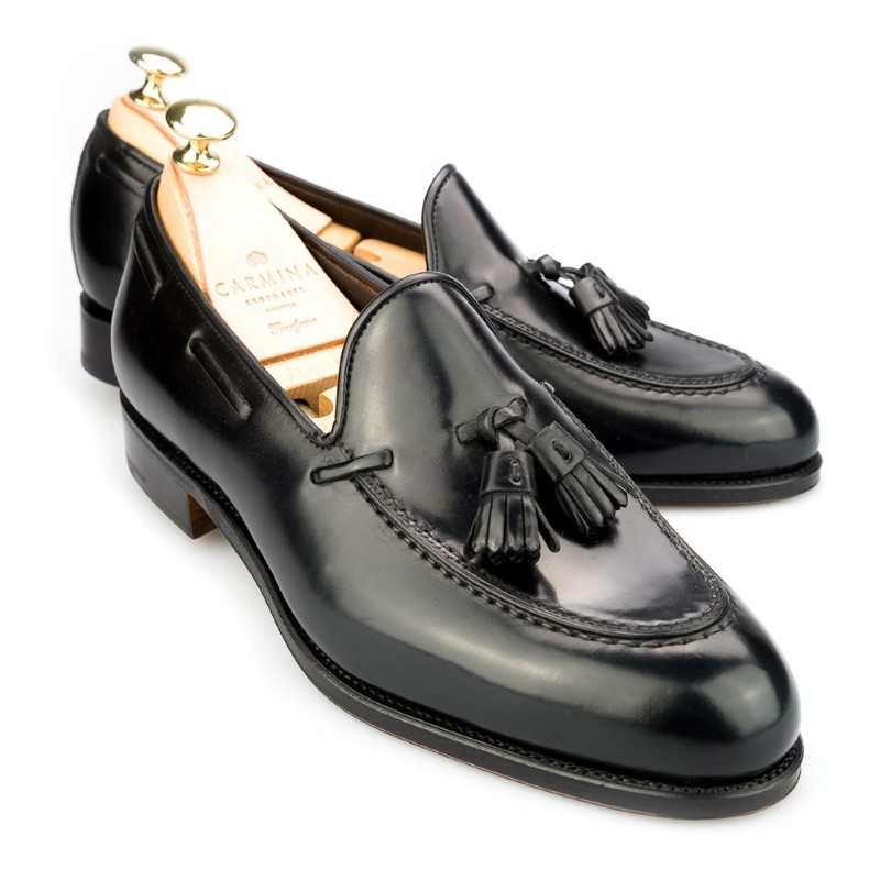 Carmina Shell Cordovan Tassel Loafers 734 Forest Black Image