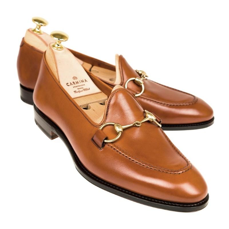 Carmina Unlined Horsebit Loafers 80643 Uetam Tan Image