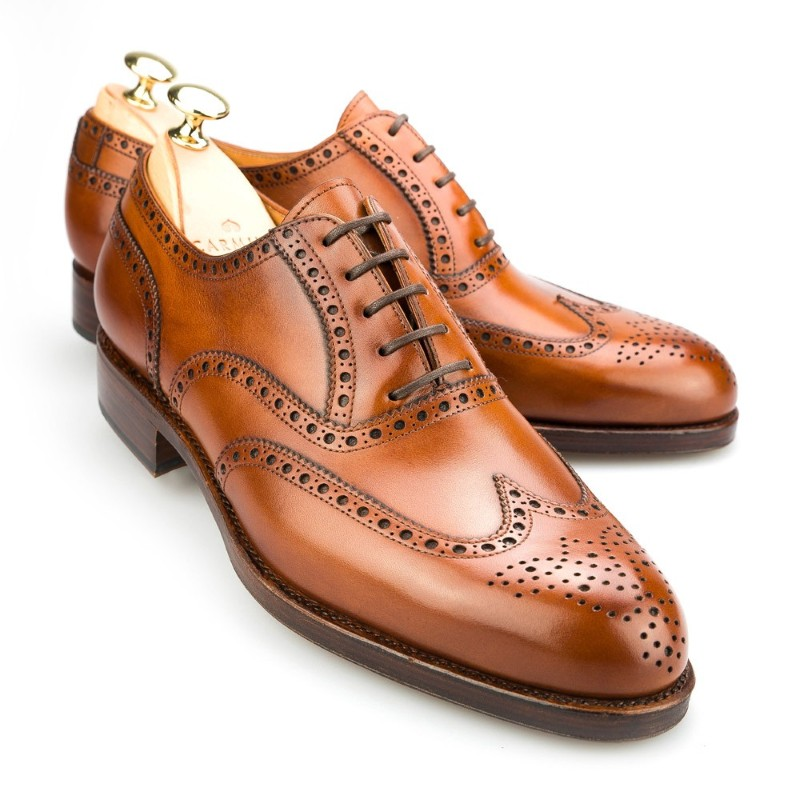 Carmina Wingtip Oxfords 813 Forest Cognac Image