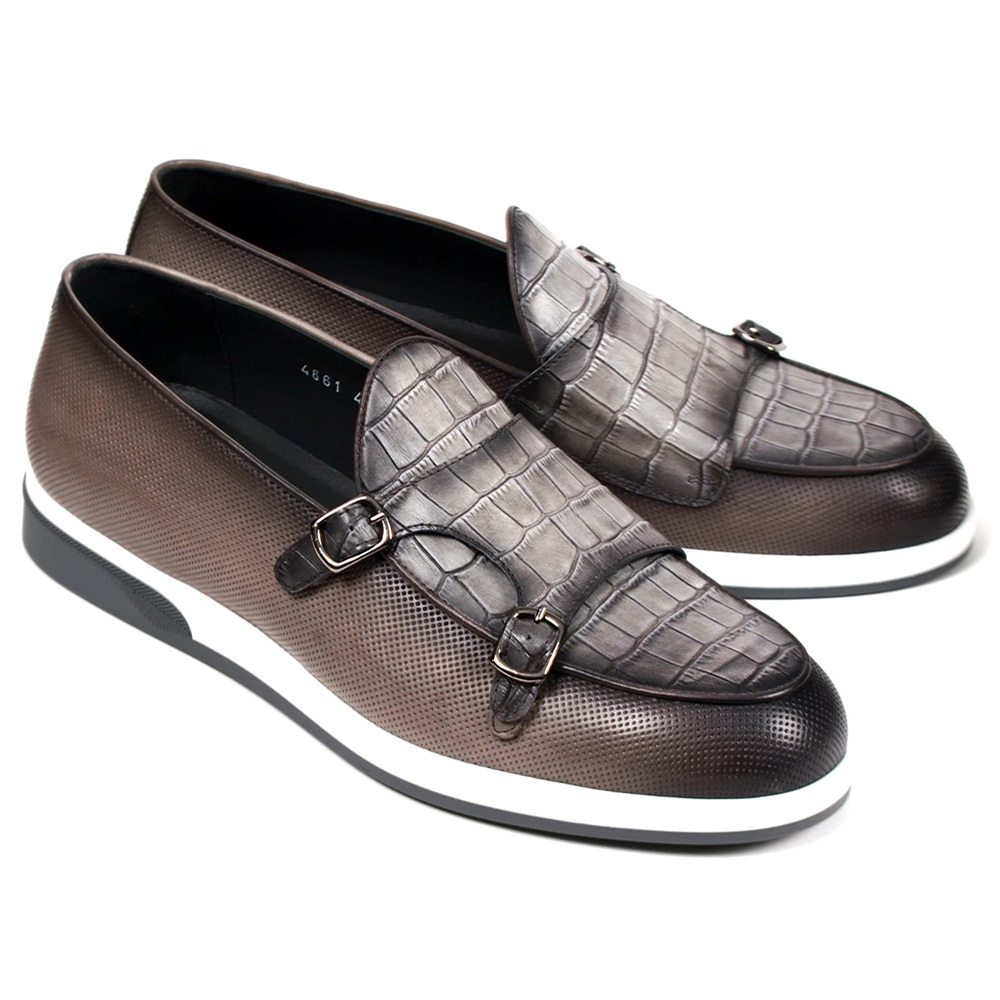 Corrente C0016-4661SP Double Monk Strap Loafers Gray Image