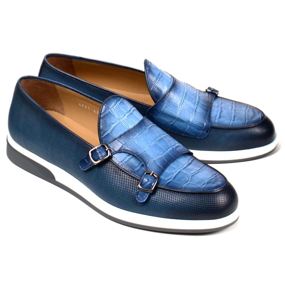 Corrente C0017-4661SP Double Monk Strap Loafers Blue Image