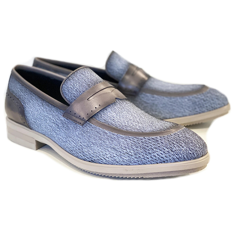 Corrente C0018-5496 Contrast Penny Loafers Jeans Image