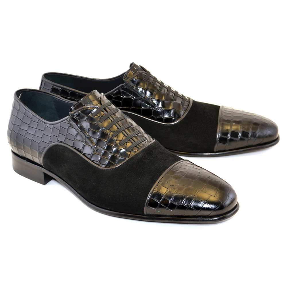 Corrente C008-5796 Cap Toe Fake Lace Shoes Black Image