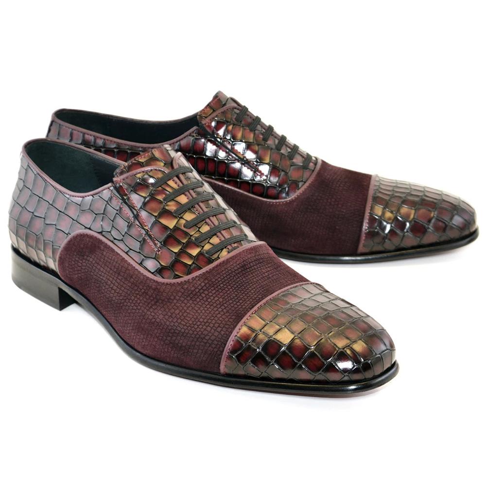 Corrente C01-5796 Cap Toe Fake Lace Shoes Burgundy Image
