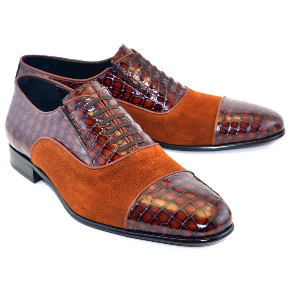 Corrente C011-5796 Cap Toe Fake Lace Shoes Tabacco Image