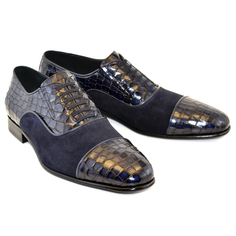 Corrente C014-5796 Cap Toe Fake Lace Shoes Navy Image