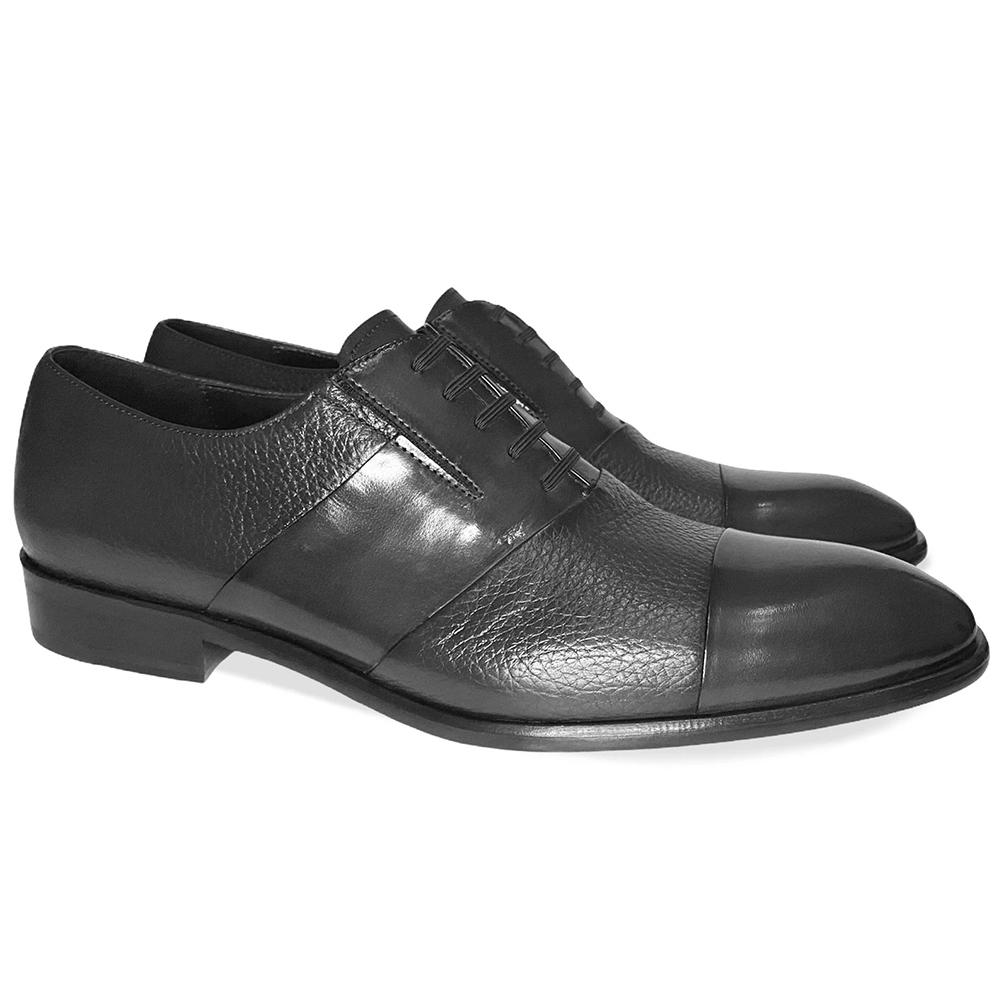 Corrente C0141-5691 Cap Toe Fake Lace Deerskin Shoes Black Image