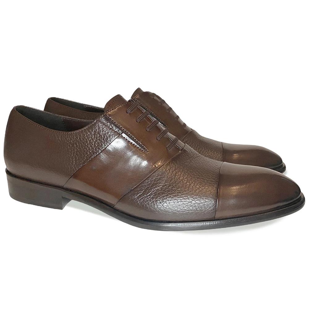 Corrente C0142-5691 Cap Toe Fake Lace Deerskin Shoes Brown Image