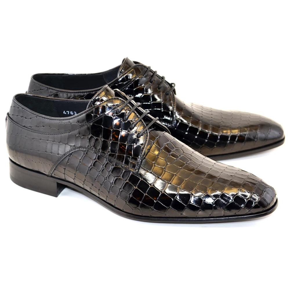 Corrente C015-4763 Croco Print Lace Up Shoes Black Image