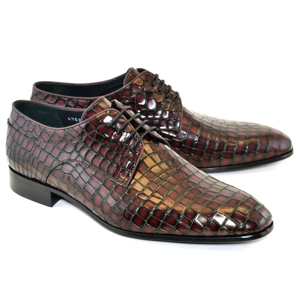 Corrente C016-4763 Croco Print Lace Up Shoes Burgundy Image