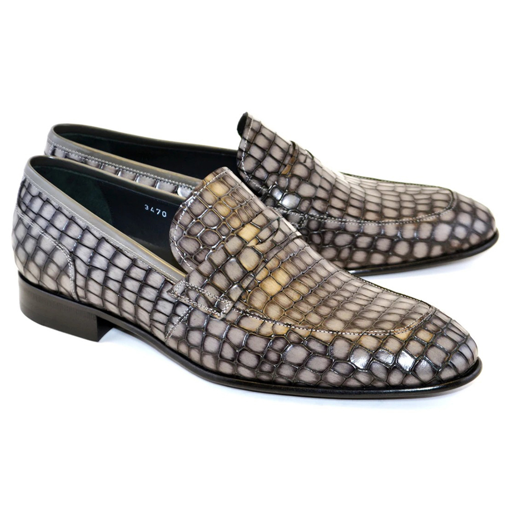Corrente C017-3470 Croco Leather Loafer Shoes Grey Image