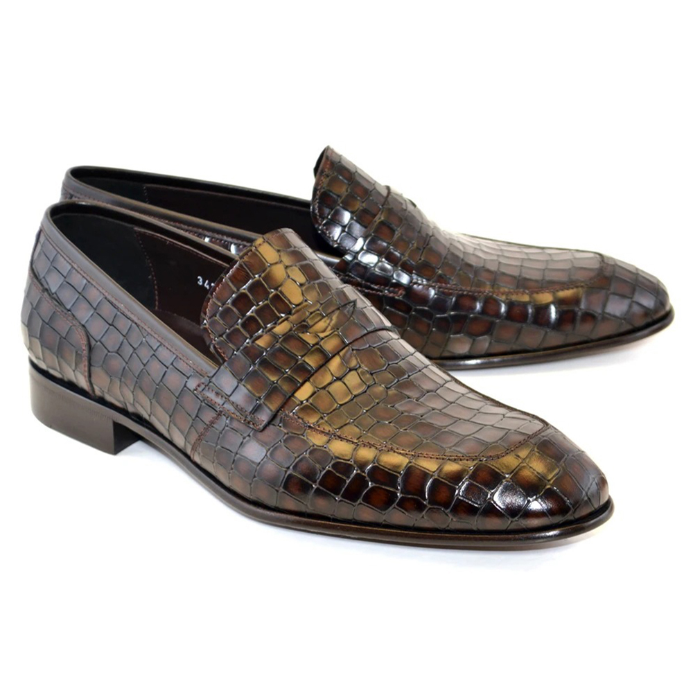 Corrente C018-3470 Croco Leather Loafer Shoes Tabacco Image