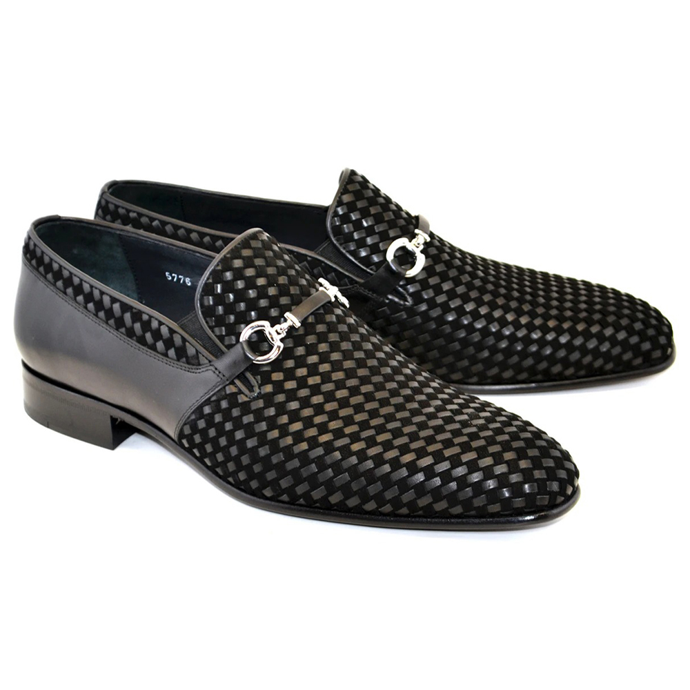 Corrente C022-5776 Buckle Woven Loafer Shoes Black Image