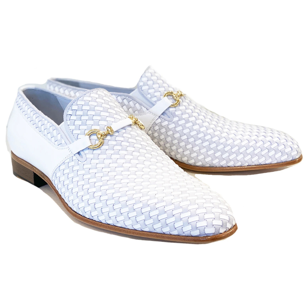 Corrente C0221-5776 Buckle Woven Loafer Shoes White Image