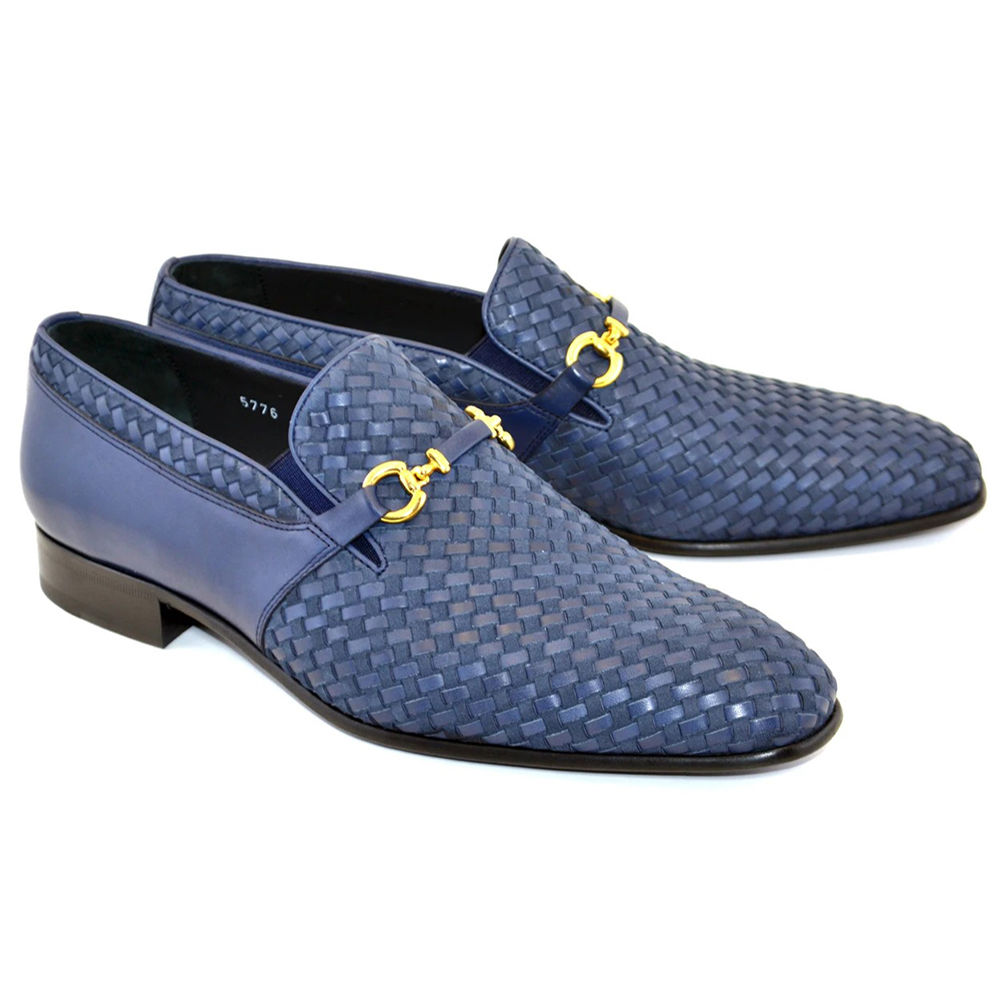 Corrente C024-5776 Buckle Woven Loafer Shoes Navy Image