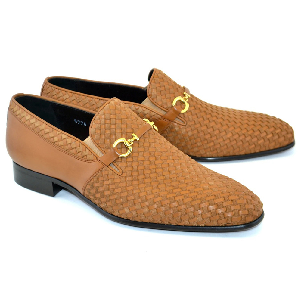 Corrente C024-5776 Buckle Woven Loafer Shoes Tan Image