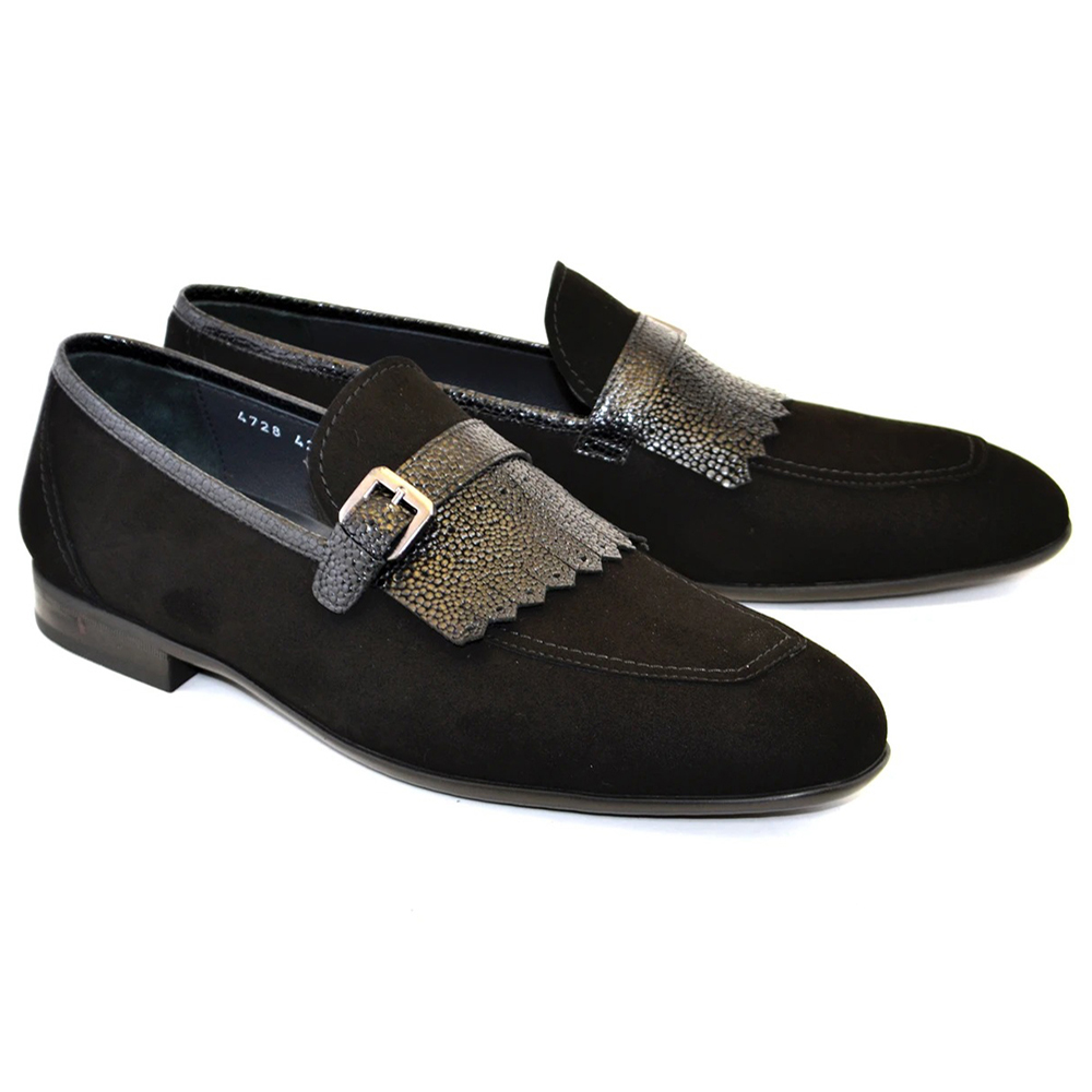Corrente C025-4728S Suede Kilttie Buckle Loafer Shoes Black Image